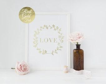 Love Flowers Gold Foil Print, Flowers Print, Love Poster, Home Wall Art, Gold Foil Art Print, Gold Home Decor, Gold Wall Art, Gold Print.