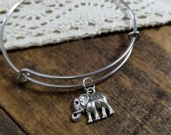 elephant jewelry, elephant bracelet, silver elephant, silver boho jewelry, good luck charm bracelet, wanderlust bracelet, gift for her