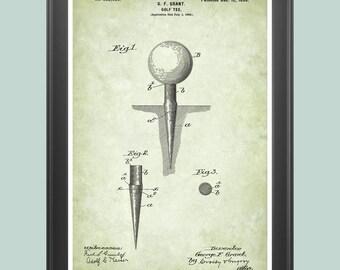 Golf Poster, Golf Tee Poster, Golf Patent, Golf Tee Print, Golf Wall Art, Golfer Gift, Golf Decor, Vintage Golf Art, Golf Clubhose Art P259