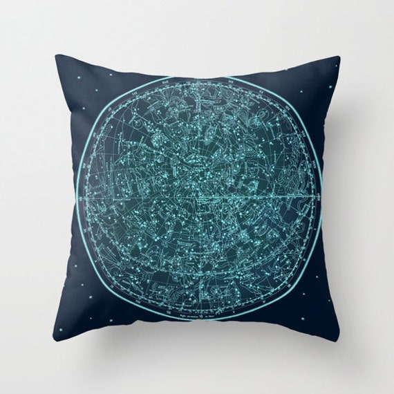 Zodiac Map Throw Pillow, Vintage Map Pillow, Ancient Zodiac Map, Dorm Decorative Pillow, Office Pillow, Office Decor,Space,Blue Teal