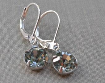 Black Diamond Swarovski Earrings, Silver-Tone Lever Back, Black Glass Birthstone Earrings