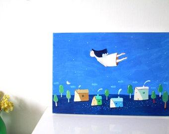 Flying canvas print , home decor, wall decor, wall art, nursery design