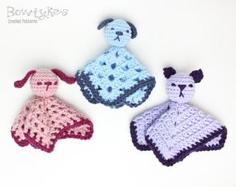 Mini Pet Loveys - Bunny, Dog, Cat - CROCHET PATTERN instant download - blankey, blankie, security blanket