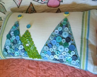 SALe  SaLe Mid Century Modern Inspired Button Pillow Trees Lots of Buttons on this Pillow