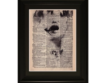 "Scream"".Dictionary Art Print. Vintage Upcycled Antique Book Page. Fits 8""x10"" frame"