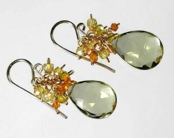 Gemstone Cluster Earrings Quartz Cluster Earrings Lemon Quartz Earrings Yellow Orange Gold Filled