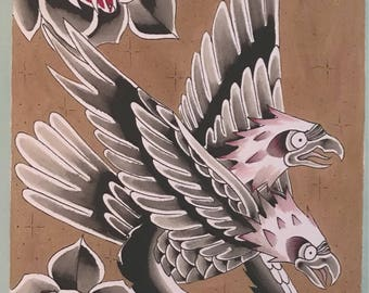 The Two Headed Eagle, Eagle, Rose, Painting