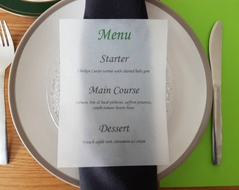 Vellum Menu Wedding Breakfast Dinner Party menu Christian Fish symbol available