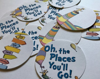 Oh the Places You'll Go Cupcake Toppers DIY - 12 Dr. Seuss Graduation Cupcake Toppers - First Birthday - Graduation