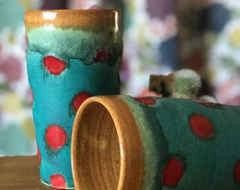 Polka Dot Tumbler Pottery Cup Water Glass Ceramic Cup Cup