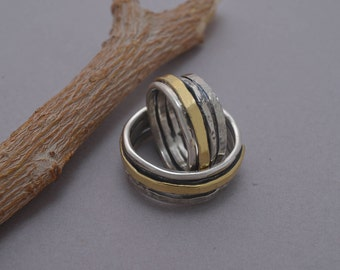 Matching Wedding Bands, 9mm Width Rustic Silver & Gold Wedding Band Set, Couples Promise Ring Set, Custom Wedding Rings, BE65