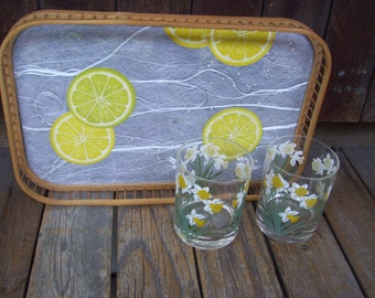 Lemon Fiberglass  Tray Fiberglass Serving Tray Bamboo Wood Sides Summer Tray Lemonade Tray