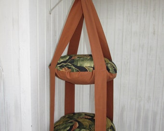 Cat Bed, Burnt Orange Tropical Jungle Leaf Double Cat Bed, Kitty Cloud, Hanging Cat Bed, Pet Furniture, Pet Gift, Cat Tree