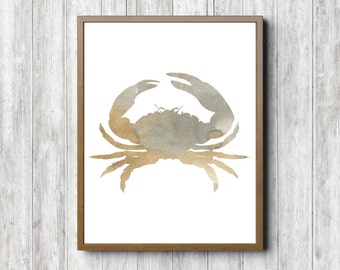 Watercolor Crab Wall Decor - Neutral Wall Art - Sea Life/ Animal Poster - Office Wall Art - Bathroom Art - 11 x 14 - 8 x 10 - 5 x 7