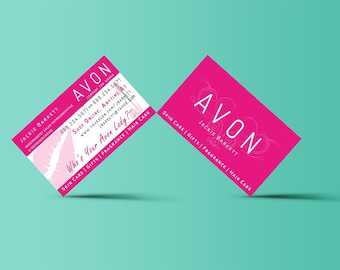 Avon Business Double Sided Card Template PDF AI Ready To Customize Print From Home Mockup Digital Download Instant Professional Pink