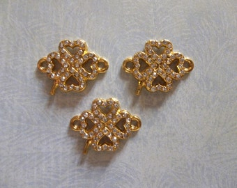 Gold Clover Charms - Gold 4 Leaf Clover Connectors with Clear Rhinestones - 21mm x 16mm - 3 pieces