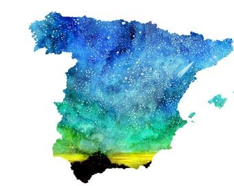 Watercolour illustration Titled Spanish Sky II