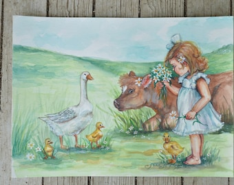 "Original Farm Watercolor - Farm Fresh Babies 11""x15"" Painting"