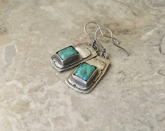 Sterling silver earrings, turquoise gemstone, rustic textured design