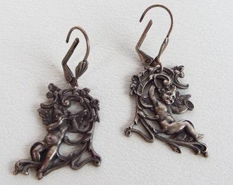 Vintage Art Nouveau Victorian Repousse Open Work Rococo Valentine Dangling Musical Cherub Angel Earrings