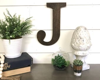 """Choose Your Letter- Large Wooden Letter Cutout, 12""""- 24"""" Tall Wood Letter, Large Stained Wooden Letter Wall Decor"""