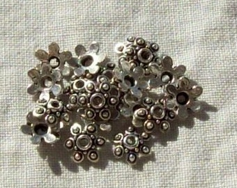 SALE - Tibetan Silver Flower Bead Caps - 10 mm - Sets of 20