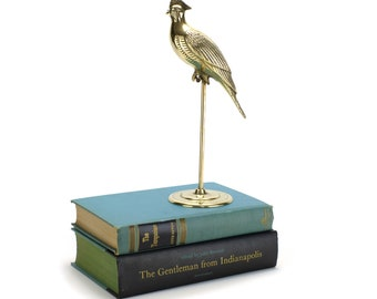 LARGE Vintage Brass Bird on Perch - Pet Parrot Statue - Wedding Shower Baby Nursery Decor - French Cottage Chic - Mother's Day Gifts