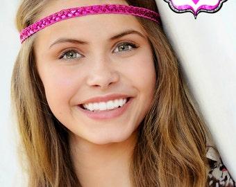 Pink Boho Headband - Bohemian Headband - Boho Headband - Forehead Headband - Halo Headband - Adult Boho Headband - Hippie Headband