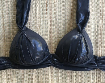 Swimwear Swimsuit Brazilian Bikini Top Arpa Bikineria Black Splash Coconut Halter Top Padded