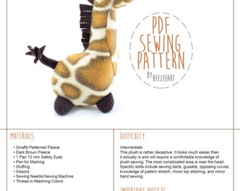 Pudgy Giraffe Stuffed Animal Sewing Pattern, Plush Toy Pattern, PDF Tutorial