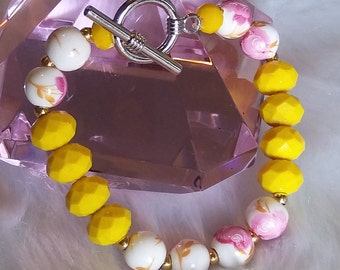 Flowers Bracelet Yellow Beads White Beads Mother's Day Gift