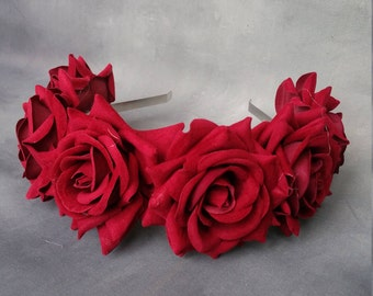 Maroon velvet flower hairband, flower crown, rose hairpiece, festival flowers