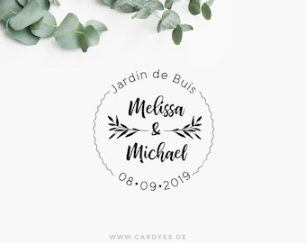 Custom wedding rubber stamps •  Wedding monogram • Save the Dates • Round rubber stamp on a wood mount
