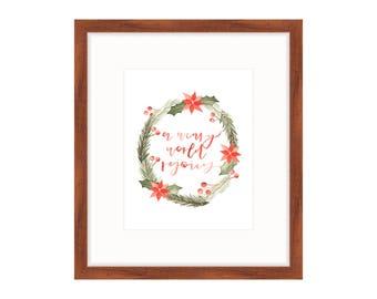 Christmas Wreath Print | Christmas Lyric Print | Watercolor Wreath Print