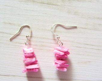 pink shell, pastel earring, uk, handmade, natural, original