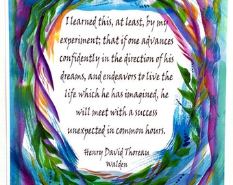 I LEARNED This 8x11 THOREAU Poster Inspirational Success Quote Advance Confidently Live Life Motivational Heartful Art by Raphaella Vaisseau