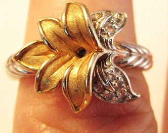 Vintage Sterling Silver Vermeil Lily Ring