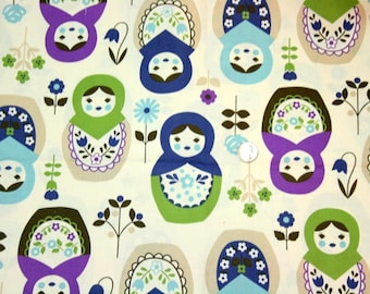 Big Matryoshka print Japanese fabric  Half meter light weight fabric 19.6 by 42 inches