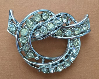 Vintage Brooch, White Rhinestone Pin, C-Clasp Brooch, Vintage Pin, Vintage Art Nouveau, Circle Brooch With White Rhinestones, Silver Tone