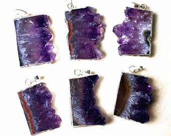 Natural Amethyst slice Pendants // Amethyst Druzy Slice Pendant with Silver Plated -- Wholesale 1, 5, 10