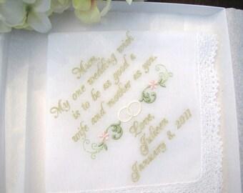 Mother of the Bride Handkerchief Personalized Wedding Hankie Hanky