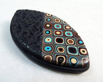 Polymer Clay Brooch, Black Textured and Earth colors Brooch, Pin, Black Brooch, Gustav Klimt, Retro Cane Brooch, Handmade, Jewelry