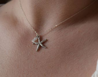starfish necklace | moonstone necklace | sterling starfish necklace | beach themed jewelry | birthday gift | gift for her | gemstone | boho