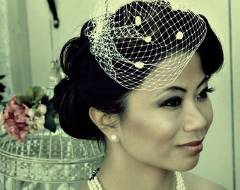 Petite 8 inch Birdcage Veil with Chenille Dots
