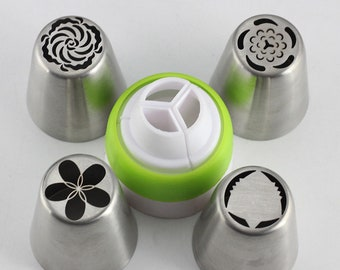 5Pcs, Stainless Steel, Russian Nozzles , Flower , Cream Icing Piping, Pastry Tips, DIY Cake Decorating, Baking Confectionery Tool