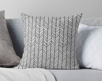 Herringbone Pillow | Chevron Pillow | Black Pillow | Black Throw Pillow | Black Pillow Case  | Black Pillow Cover | Black Chevron Pillow |