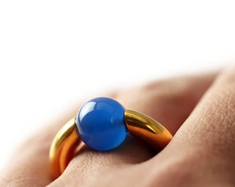 Designer work- Minimalist modern jewelry ring, gold plated silver& blue agate