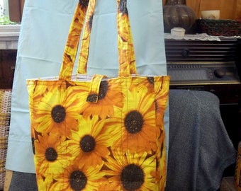 Shoulder Style Cotton Tote Bag, Bright Yellow Sunflowers Print