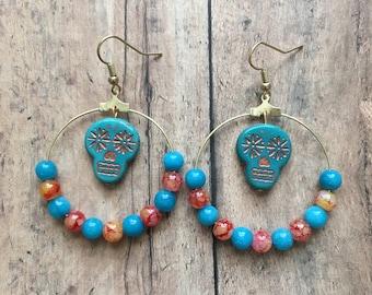 Orange and blue sugar skull earrings, sugar skull jewelry, skull jewelry, dia de los muertos, halloween jewelry, day of the dead jewelry