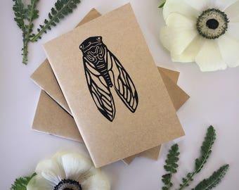 Cicada Pocket Journal - Hand Printed Linocut - Blank Notebook